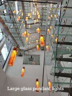 Customized glass chandelier for foyer decor and high ceiling spaces Blown Glass Pendant Light, Large Pendant Lighting, Pendant Light Fixtures, Pendant Lights, Foyer Chandelier, Chandelier Lighting, Entryway Lighting, Ceiling Height, White Candles