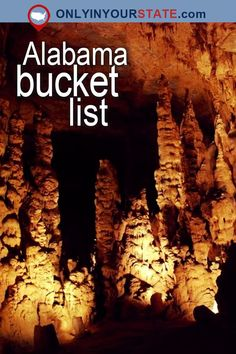 Travel | Alabama | Attractions | USA | Bucket List | Things To Do | Day Trips | Places To Visit | Adventure | Outdoor | Beautiful Places | Road Trips | Cathedral Caverns | Rocket Center | Museums | Mountains | Hiking | Scenic Hikes | Trails | Waterfalls | Natural Wonders | Gardens | Grotto | Canyon | Caves | Beaches