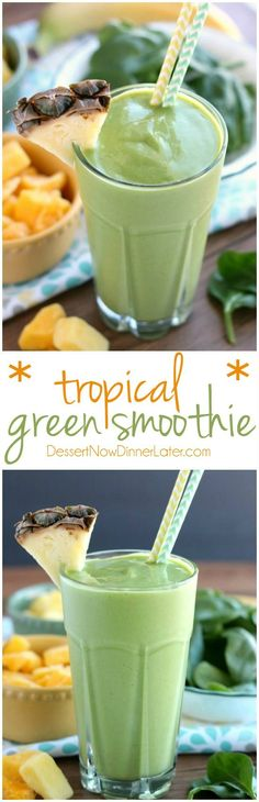 This Tropical Green Smoothie uses tender spinach leaves plain non-fat greek yogu. This Tropical Green Smoothie uses tender spinach leaves plain non-fat greek yogurt and frozen fruit Fruit Smoothies, Green Smoothie Recipes, Smoothie Drinks, Healthy Smoothies, Healthy Drinks, Healthy Snacks, Smoothie Detox, Greek Yogurt Smoothies, Breakfast Smoothies