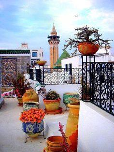 Tunisia, colorful terrace. ♥