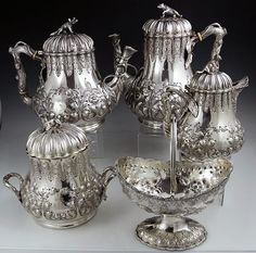 Tiffany Grosjean and Woodward coin silver teaset