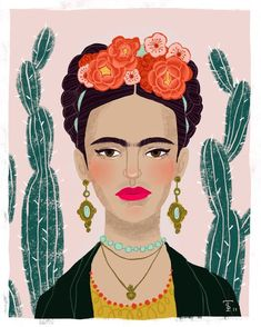 A print inspired by one of the most prolific female artists...Frida Kahlo of course! 8.5x11 print archival photo stock of original art by Traci Sally. Ships to you in a sturdy photo mailer to prevent creasing in transit. Frida Kahlo Artwork, Kahlo Paintings, Frida Art, Freida Kahlo, Illustration Art, Illustrations, Feminist Art, Mexican Folk Art, Art Drawings