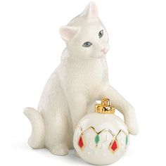 Kitty's Holiday Ornament Figurine By Lenox