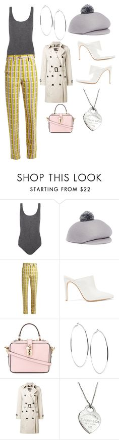 """""""Mary Tyler Moore"""" by giannilachica ❤ liked on Polyvore featuring Madeleine Thompson, Eugenia Kim, Miu Miu, Alexandre Birman, Dolce&Gabbana, GUESS, Burberry and Tiffany & Co."""