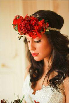 red floral wedding hair piece