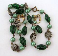 Czech Emerald Green Art Glass Faux Pearls Necklace Earrings