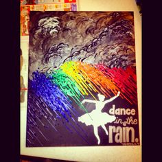 Made this as a going away gift for Christine Gomez! It's canvas, paint, silver sharpie, and melted crayons.