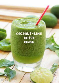 Coconut Lime Detox Drink.  Shades of green...  #detox #coconut @livlifetoo