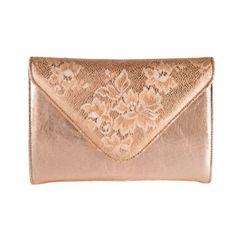 Rose gold metallic clutch bag