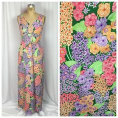 Vintage 60 039 s 70 039 s Full Length Mod Neon Floral Maxi Nightgown Small | eBay
