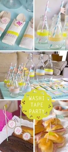 """washi tape crafting party: """"The girls decorated notebooks, jars and picnic boxes and I showed them how to make lovely tags with washi tape and paper punches! """""""