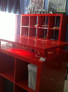 #ikea meet #lego  Matthew's new lego display room. :-)