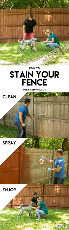 Get your yard ready for backyard BBQ season with Rust-Oleum Renovator. Renovate your wooden fence with Renovator Fence Stain, the fastest way to stain your fence! In these simple steps, refresh your fence in minutes. Cover any plants or items. Mow or trim the area close to the fence and clean off any debris. Attach to a hose and stain your fence. Then enjoy! Renovator Fence Stain is an easy-to-use semi-transparent stain that refreshes faded wood fencing with vivid color. Learn more today!