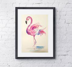 Pink Flamingo Original Watercolor Painting Watercolor by UniqueDNA