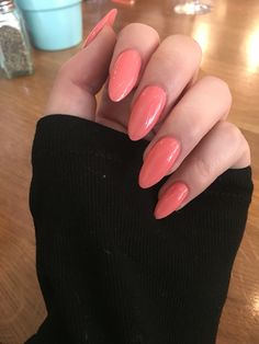 Coral colour almond shape nails - In love with these #nails  @laurenemcneill