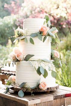 adorable floral wedding cake venue: malibu wine safari @saruphotography www.saruphoto.com