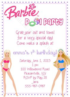 Barbie Pool Party Birthday Invitation by JuBiLeeProductions, $8.00