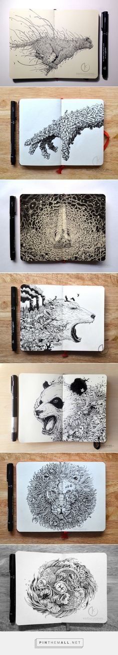 Explosive Moleskine Doodles by Kerby Rosanes | Colossal - created via http://pinthemall.net