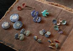 Ceramic Jewelry, Ceramic Beads, Polymer Clay Jewelry, Clay Earrings, Ceramic Pottery, Ceramic Art, Clay Magnets, Clay Studio, Brooches Handmade
