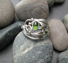 If I ever got married again he best propose with this :) Green tourmaline ring leaf ring with individually by ElfinWorks, $80.00