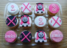 I like the navy and pink.... Girl Train Cupcake toppers. by TutuCuteCakes on Etsy, $22.00