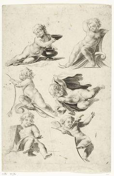 Anonymous | Zes putti, Anonymous, c. 1600 - c. 1699 | Ontwerpen voor steunfiguren bij cartouches.