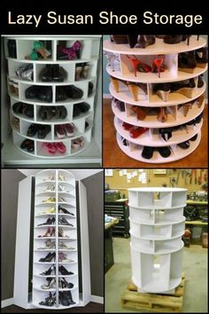 If you're looking for a great shoe storage system, then this DIY lazy Susan shoe organizer is for . Corner Storage, Diy Storage, Storage Ideas, Small Closet Organization, Diy Organization, Diy Shoe Organizer, Closet Storage, Organizers, Bedroom Design On A Budget