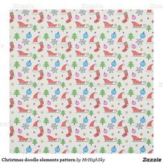 Christmas doodle elements pattern fabric