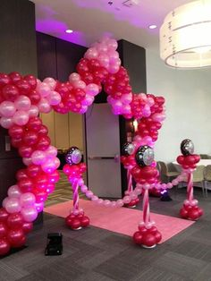Stage or Entrance Star Shape Balloon Arch with stanchions