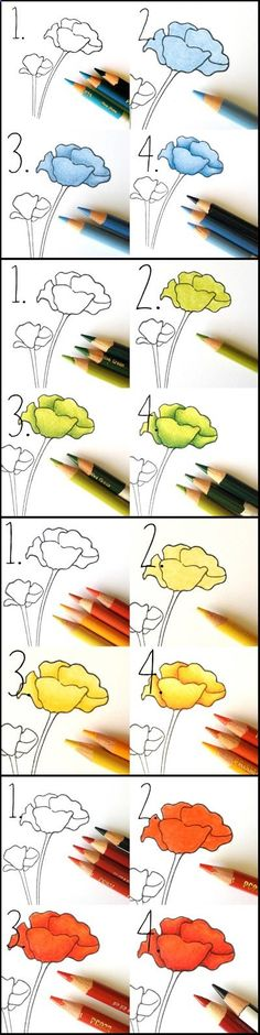 Great colored pencil technique showing how you can create rich gradients with just a few colors, no blending pencil required!http://www.cleverpedia.com/hosting-ultimate-wine-coloring-party/ Colouring Techniques, Painting Techniques, Drawing Techniques Pencil, Watercolor Pencils Techniques, Pencil Drawings, Colored Pencil Tutorial, Shading With Colored Pencils, Coloring Tutorial, Art Plastique