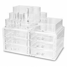 Don't spend hundreds of dollars on makeup caddies or brushes! This site has what you need at an inexpensive price! Clear Makeup Storage, Cheap Makeup Organization, Clear Makeup Organizer, Organisation, Bh Cosmetics, Skin Makeup, Makeup Brushes, Makeup Rooms, Beauty Room