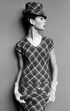 Mary Quant - Robe Mini et Chapeau à Carreaux - Jean Shrimpton - Années 60