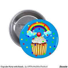 Cupcake Party with Rainbow & Sprinkles Button