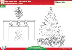 """Decorate The Christmas Tree"" Christmas Coloring Worksheet from Super Simple Learning. #preK #kindergarten #ESL"