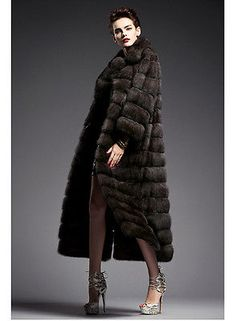 100% Real Knitted Mink Fur Long Coat Jacket Outwear Wearcoat Garment Women Warm