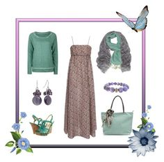 Soft Summer Look by sabira-amira on Polyvore featuring polyvore, fashion, style, Cacharel, Full Tilt, Seychelles, AX Paris, Croft & Barrow, Mulberry, Forever 21, clothing, blue, teal, headscarf, violet and maxi dress