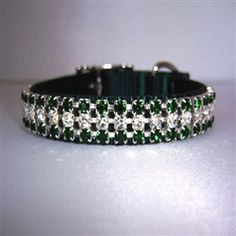 Emerald City 5/8 - 1 inch wide Dog Collar. Our Gorgeous Emerald City Fancy Dog Collar made with green nylon collar and clear and emerald green crystals