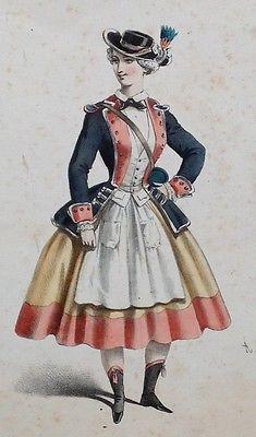 Antique 1840 50's French Hand Coloured Lithograph Vivandiere Louis XIV Costume | eBay