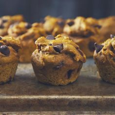 Lightly sweetened, soft peanut buttery pumpkin muffins studded with dark chocolate chips. Perfect for chilly Fall days. (vegan)