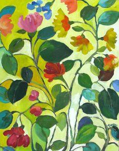 """""""Morea Garden"""" ©Kim Parker 2010. 20'' x 26""""; acrylic on canvas."""