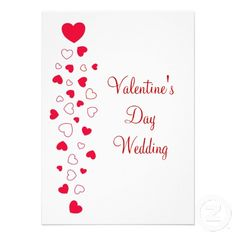 White with Red Hearts Valentines Day Wedding Invitation