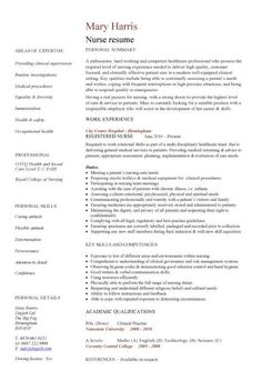 resume for nurses template