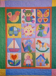 children's quilt, made this one myself and enjoyed every second, several yrs ago now! She has beautiful applique patterns. Baby Patchwork Quilt, Cot Quilt, Baby Quilts, Children's Quilts, Baby Quilt Patterns, Applique Patterns, Applique Quilts, Patch Quilt, Quilt Blocks