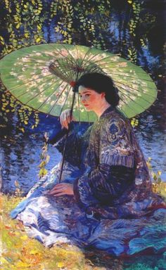 Guy Rose - The Green Parasol, early 20th c.