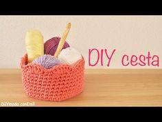 Cesta de trapillo a crochet paso a paso - YouTube