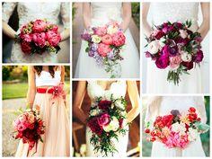 Яркие свадебные букеты с пионами