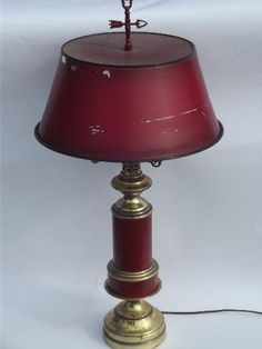 Vintage Barn Red Tole Metal Shade Brass Table Lamp, Brass Weathervane Finial