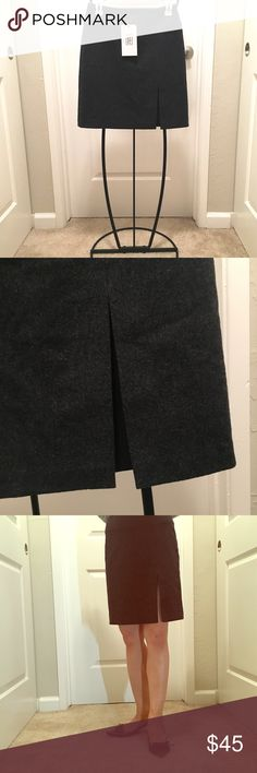 """NWT Stefanel Charcoal Wool Skirt (Size 38) Stefanel wool skirt with front slit. BRAND NEW!!!! We accept all reasonable offers!   Length: 18.25"""" Waist: 27"""" Stefanel Skirts A-Line or Full"""
