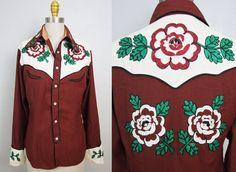 1940s gabardine western shirt/ 40s embroidered cowboy shirt/ rockabilly/ small- medium