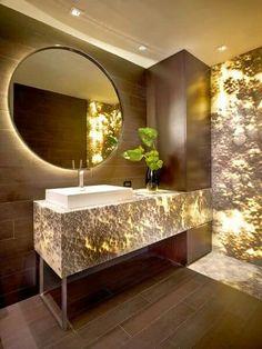 Stone In Bathroom, Lighting In Bathroom, Mirror In Bathroom, Led Lighting  Home,